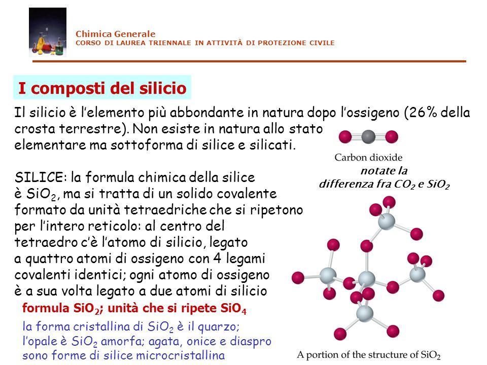 Chimica Generale CORSO DI LAUREA TRIENNALE IN ATTIVITÀ DI PROTEZIONE CIVILE. I composti del silicio.