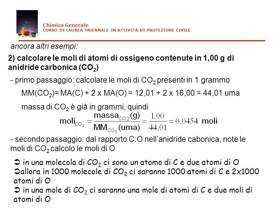- primo passaggio: calcolare le moli di CO2 presenti in 1 grammo
