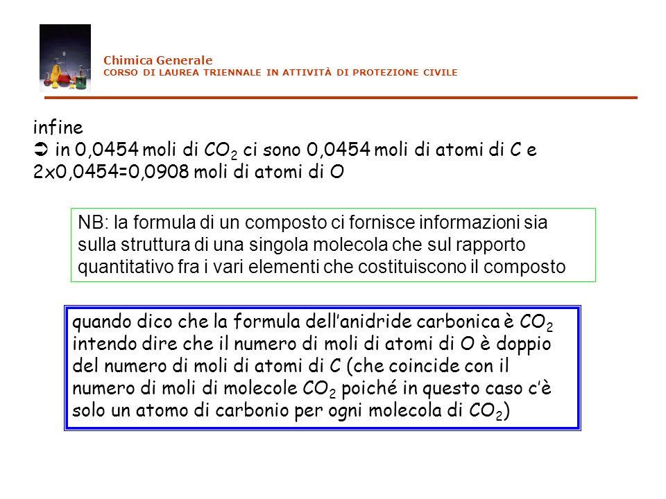 Chimica Generale CORSO DI LAUREA TRIENNALE IN ATTIVITÀ DI PROTEZIONE CIVILE. infine.