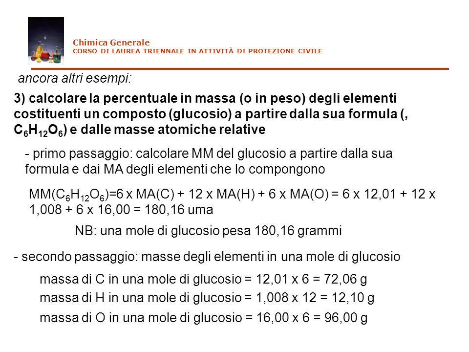NB: una mole di glucosio pesa 180,16 grammi