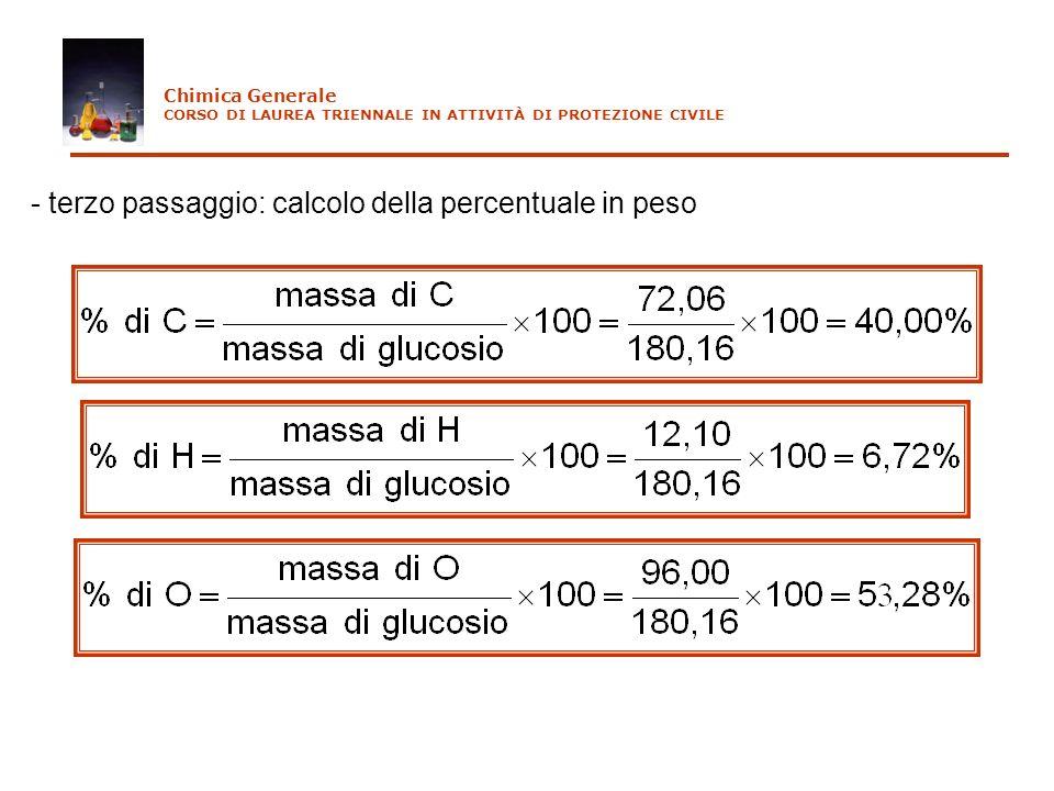 - terzo passaggio: calcolo della percentuale in peso