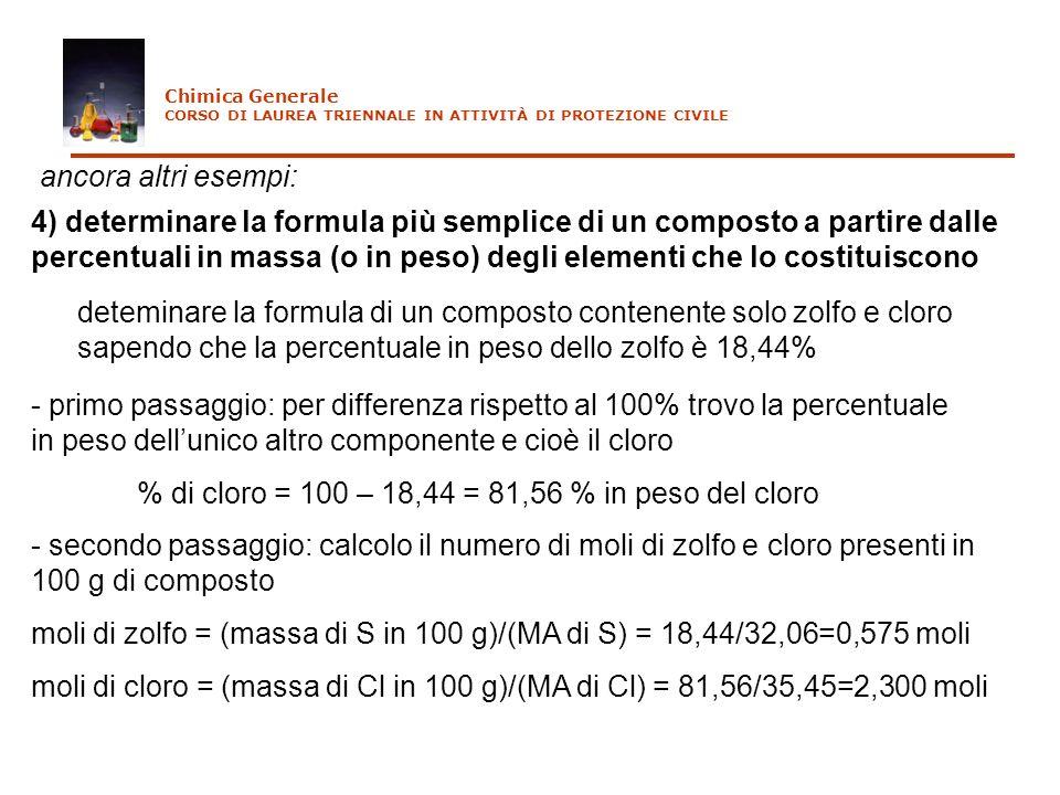 % di cloro = 100 – 18,44 = 81,56 % in peso del cloro