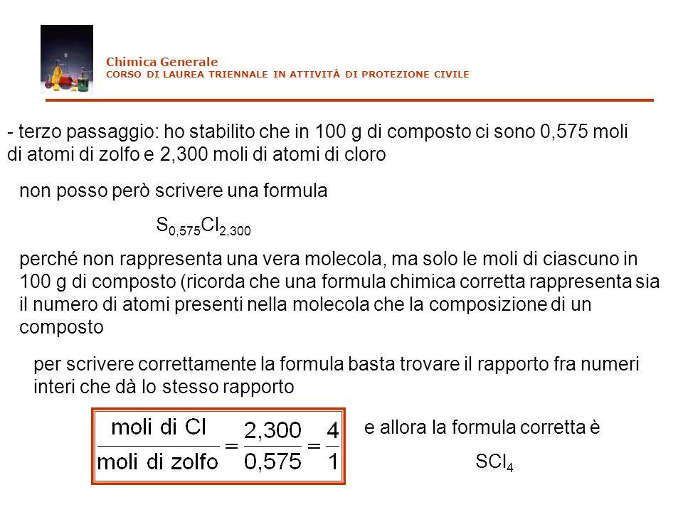 non posso però scrivere una formula S0,575Cl2,300