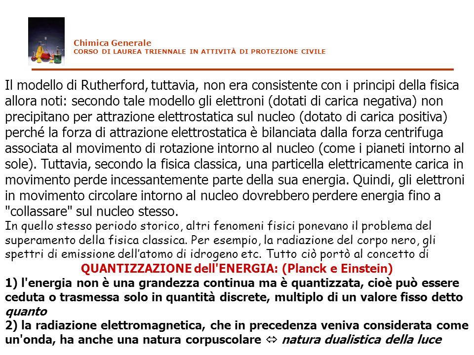 QUANTIZZAZIONE dell ENERGIA: (Planck e Einstein)