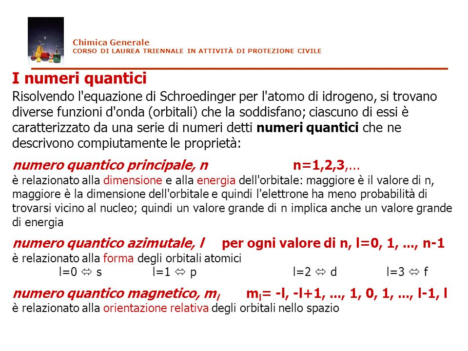 Chimica Generale CORSO DI LAUREA TRIENNALE IN ATTIVITÀ DI PROTEZIONE CIVILE. I numeri quantici.