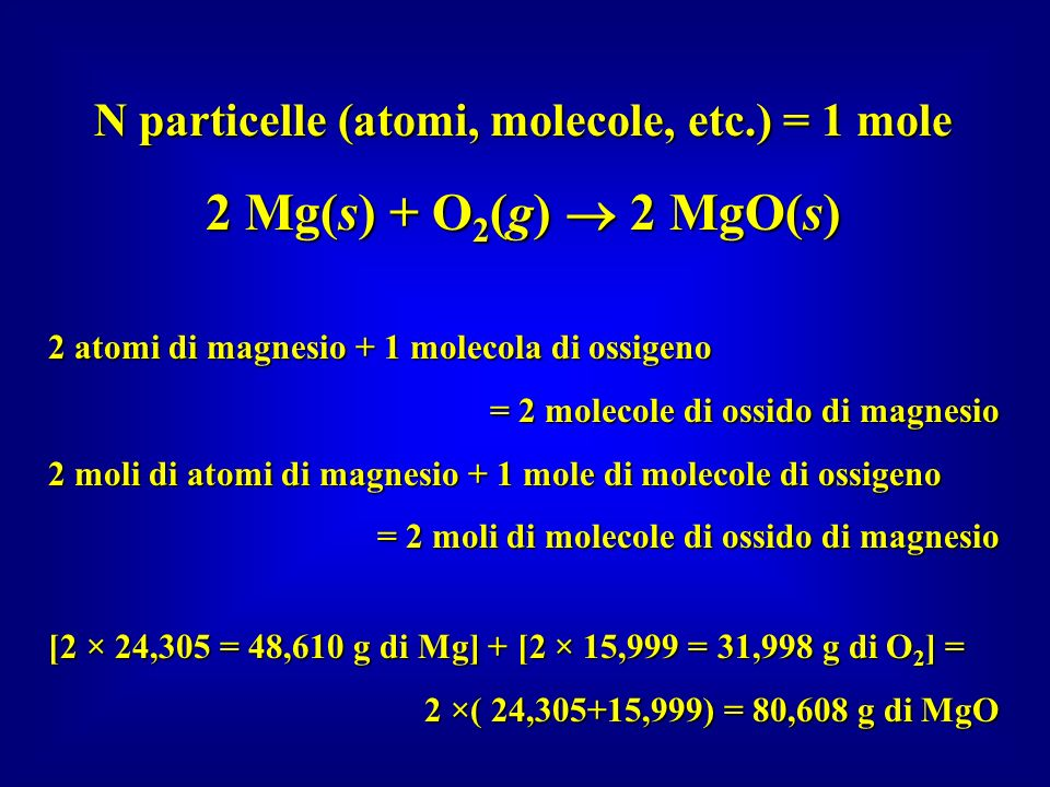 N particelle (atomi, molecole, etc.) = 1 mole