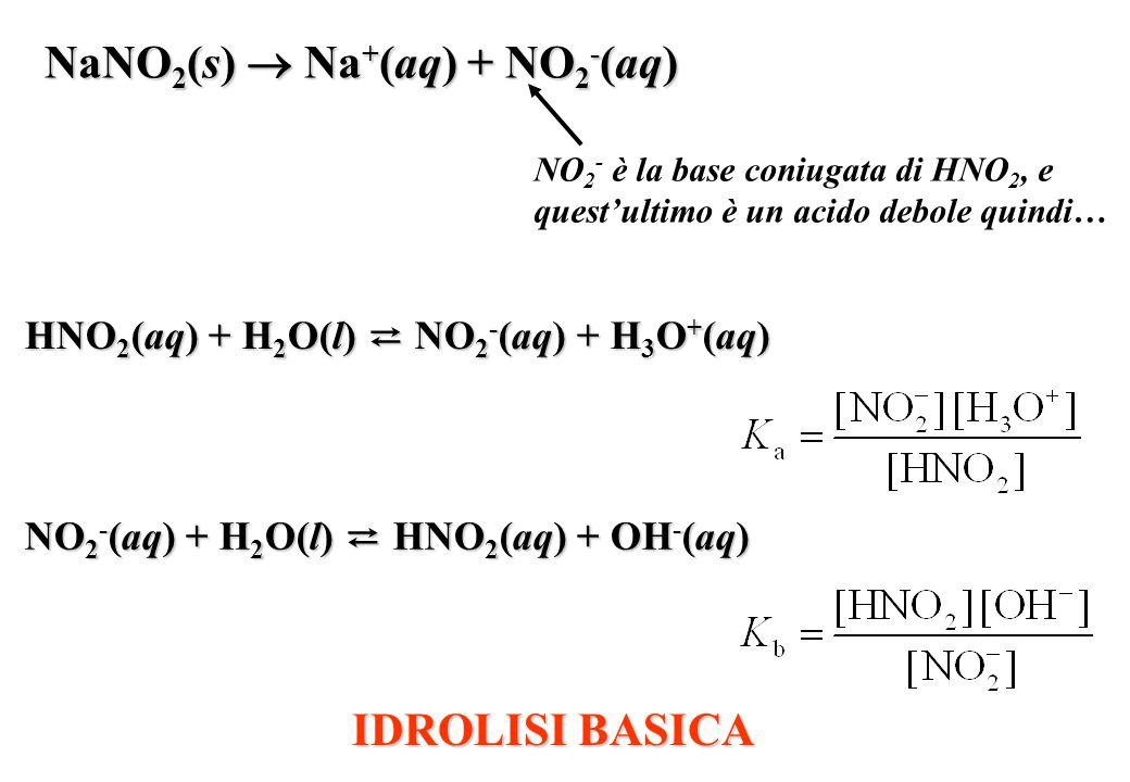 NaNO2(s)  Na+(aq) + NO2-(aq)