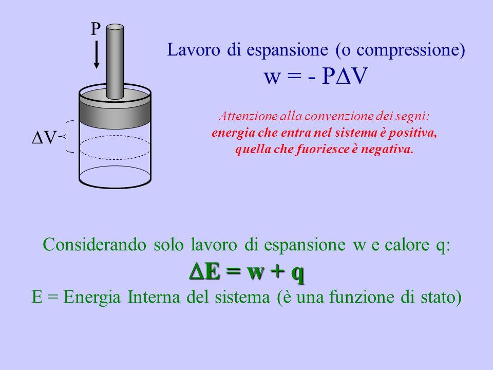 w = - PV E = w + q P Lavoro di espansione (o compressione) V