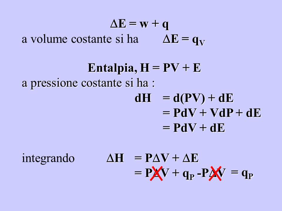 E = w + q a volume costante si ha E = qV. Entalpia, H = PV + E. a pressione costante si ha : dH = d(PV) + dE.