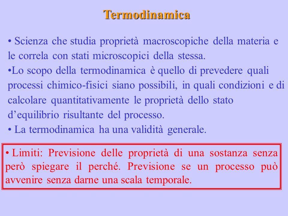 Termodinamica Scienza che studia proprietà macroscopiche della materia e le correla con stati microscopici della stessa.