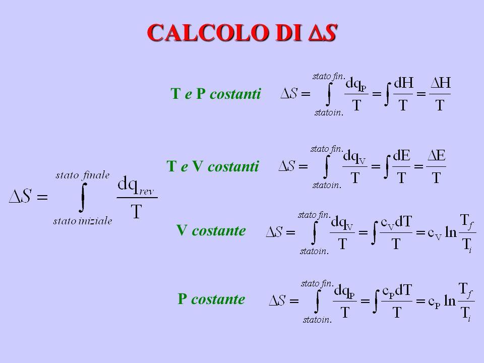 CALCOLO DI S T e P costanti T e V costanti V costante P costante