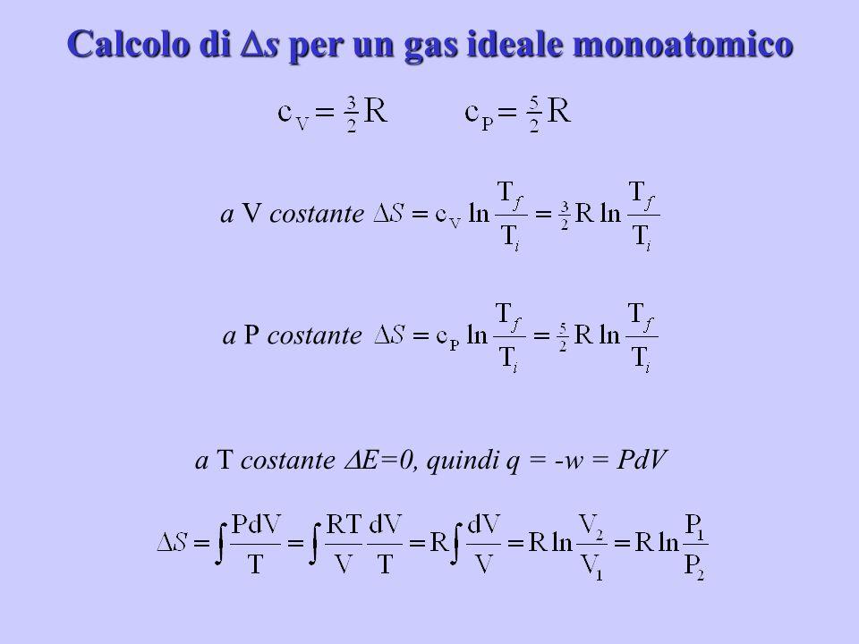 Calcolo di s per un gas ideale monoatomico