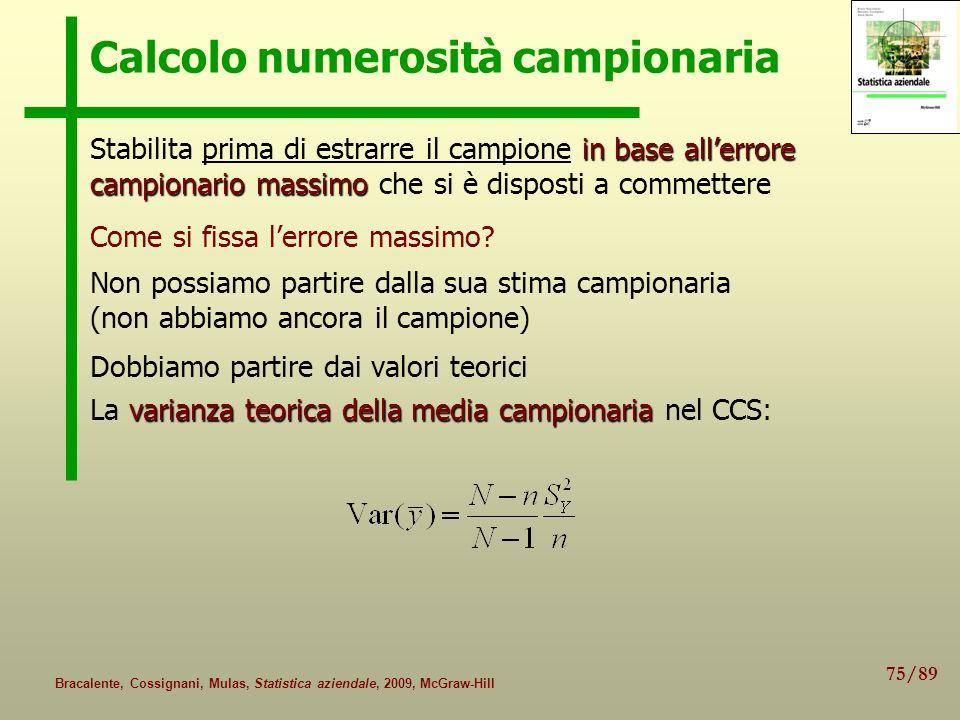 Calcolo numerosità campionaria