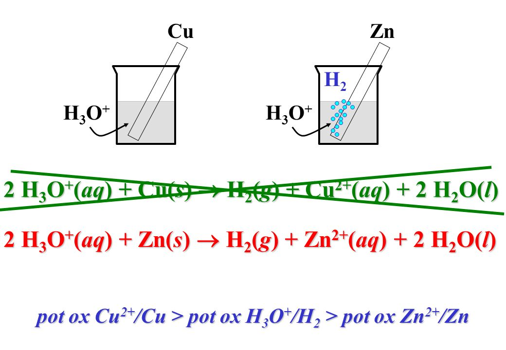 2 H3O+(aq) + Cu(s)  H2(g) + Cu2+(aq) + 2 H2O(l)