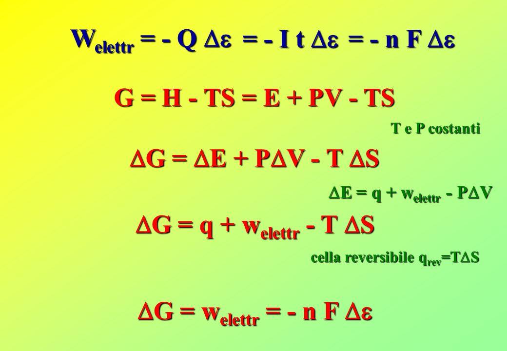 Welettr = - Q  = - I t  = - n F  G = H - TS = E + PV - TS