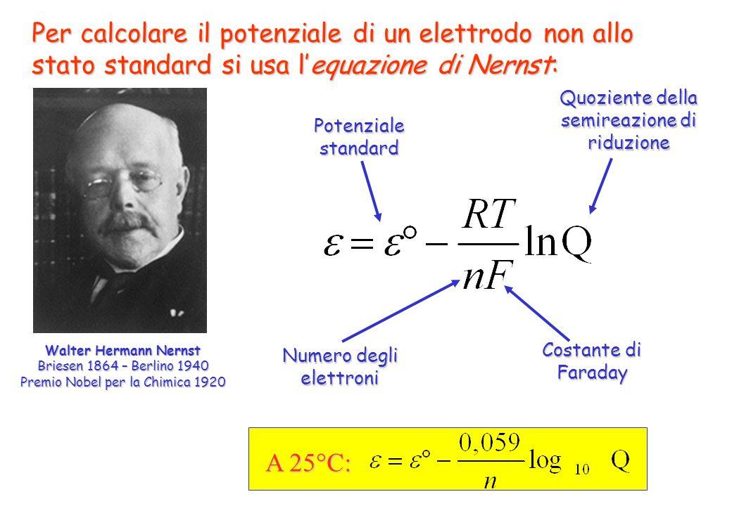 Per calcolare il potenziale di un elettrodo non allo stato standard si usa l'equazione di Nernst: