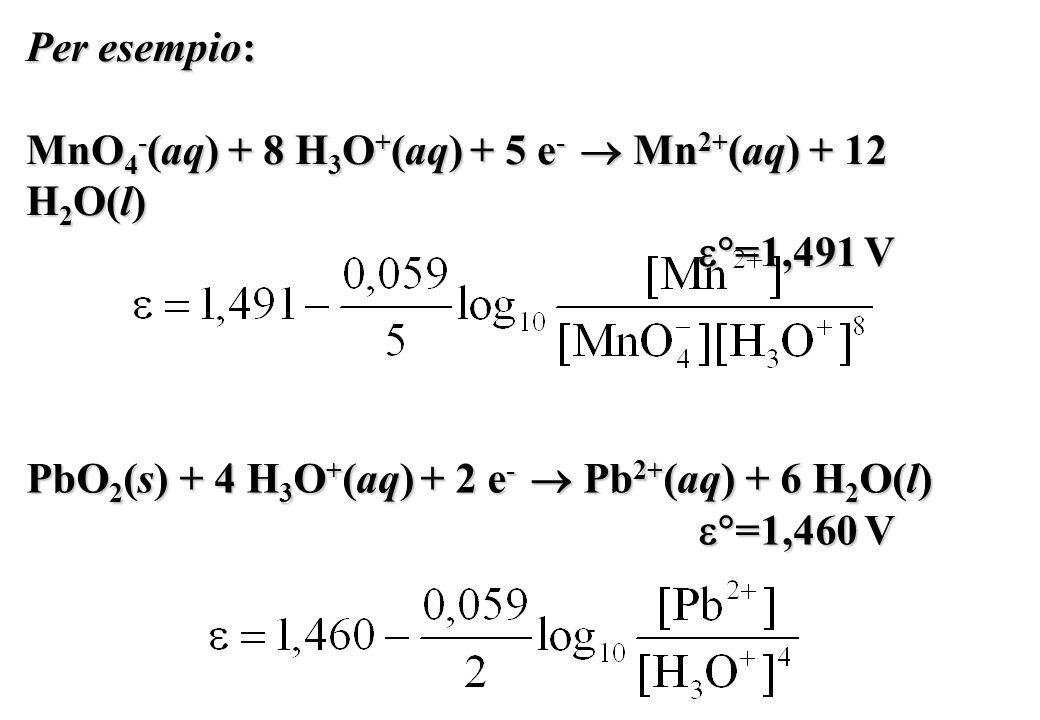 Per esempio: MnO4-(aq) + 8 H3O+(aq) + 5 e-  Mn2+(aq) + 12 H2O(l) =1,491 V. PbO2(s) + 4 H3O+(aq) + 2 e-  Pb2+(aq) + 6 H2O(l)