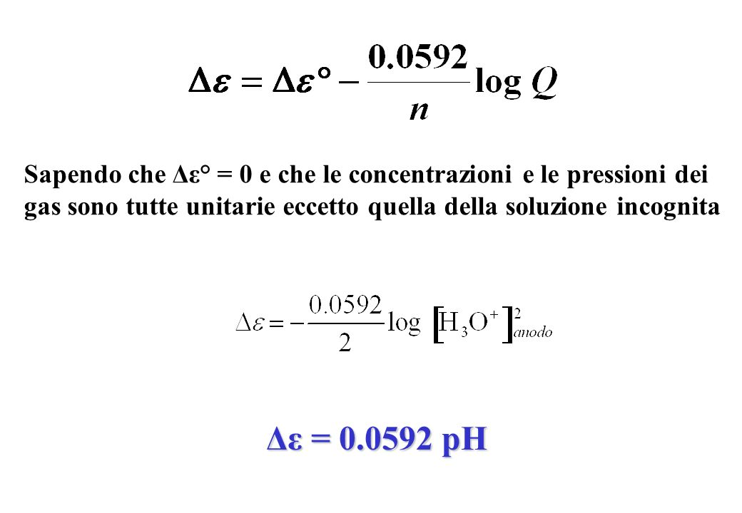 Sapendo che Δε° = 0 e che le concentrazioni e le pressioni dei gas sono tutte unitarie eccetto quella della soluzione incognita