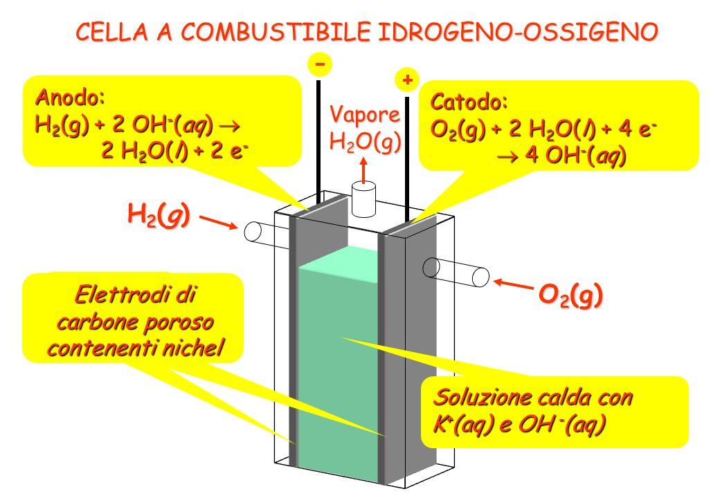 H2(g) O2(g) CELLA A COMBUSTIBILE IDROGENO-OSSIGENO Anodo: Catodo: