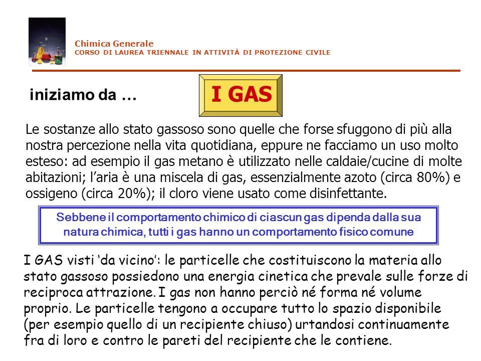 Chimica Generale CORSO DI LAUREA TRIENNALE IN ATTIVITÀ DI PROTEZIONE CIVILE. I GAS. iniziamo da …