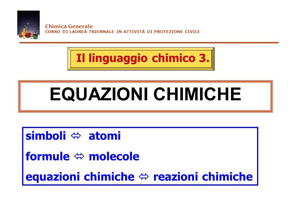 EQUAZIONI CHIMICHE Il linguaggio chimico 3. simboli  atomi