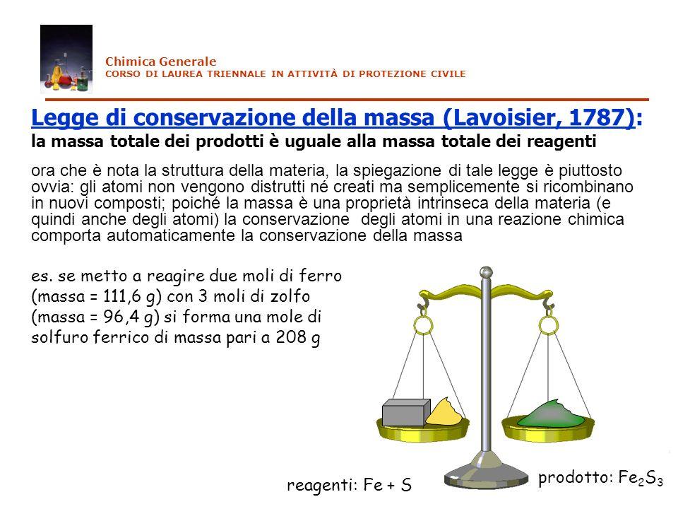 Legge di conservazione della massa (Lavoisier, 1787):