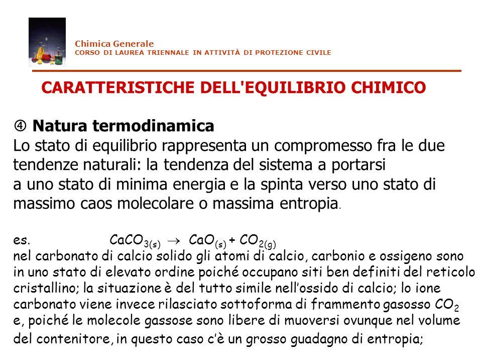 CARATTERISTICHE DELL EQUILIBRIO CHIMICO  Natura termodinamica