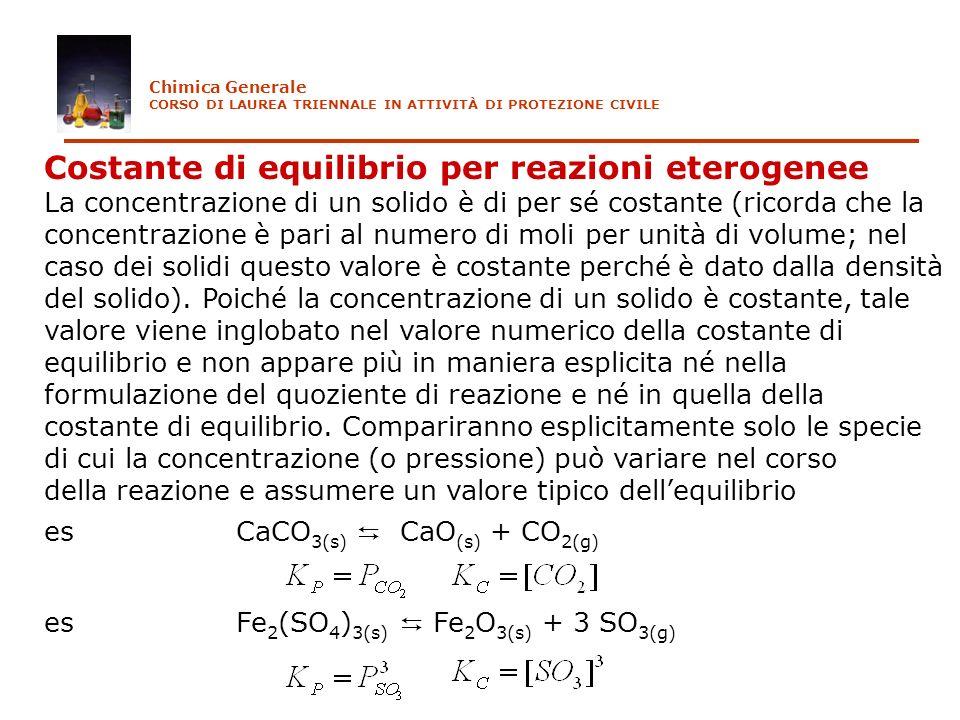 Costante di equilibrio per reazioni eterogenee