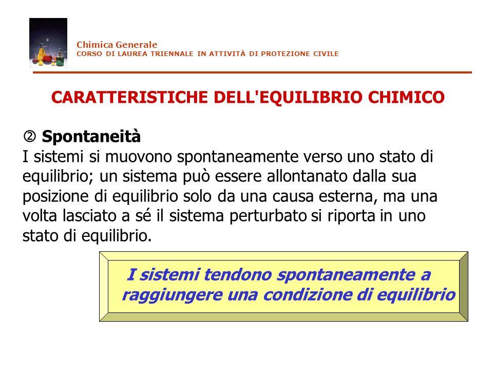 CARATTERISTICHE DELL EQUILIBRIO CHIMICO  Spontaneità