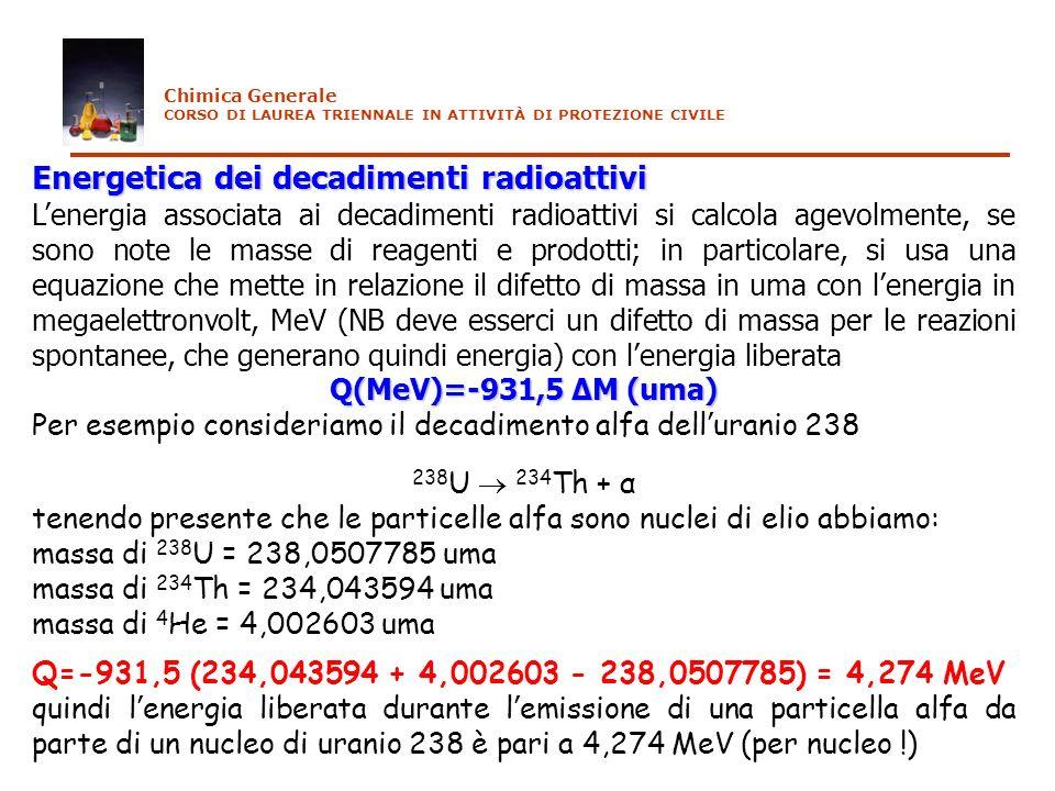 Energetica dei decadimenti radioattivi