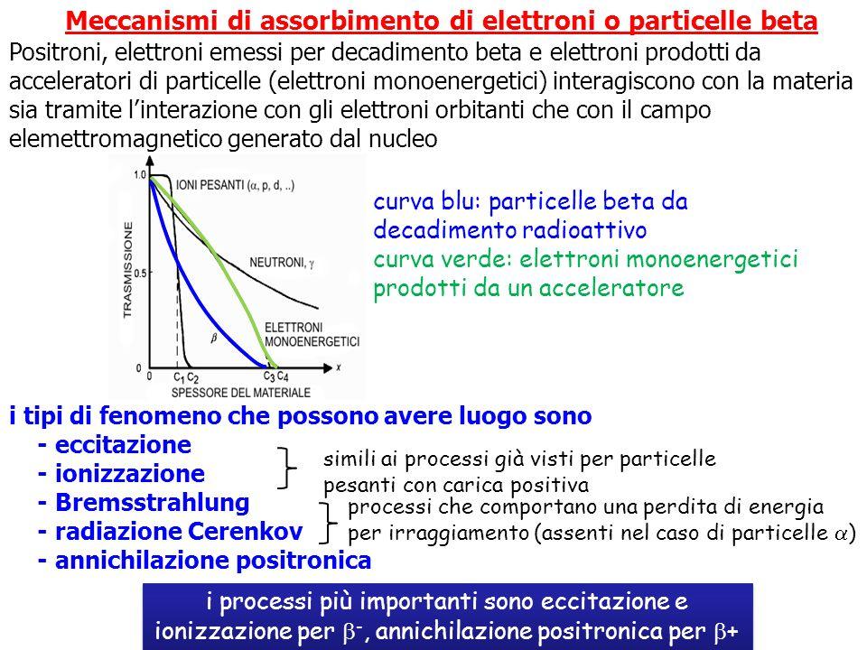 Meccanismi di assorbimento di elettroni o particelle beta