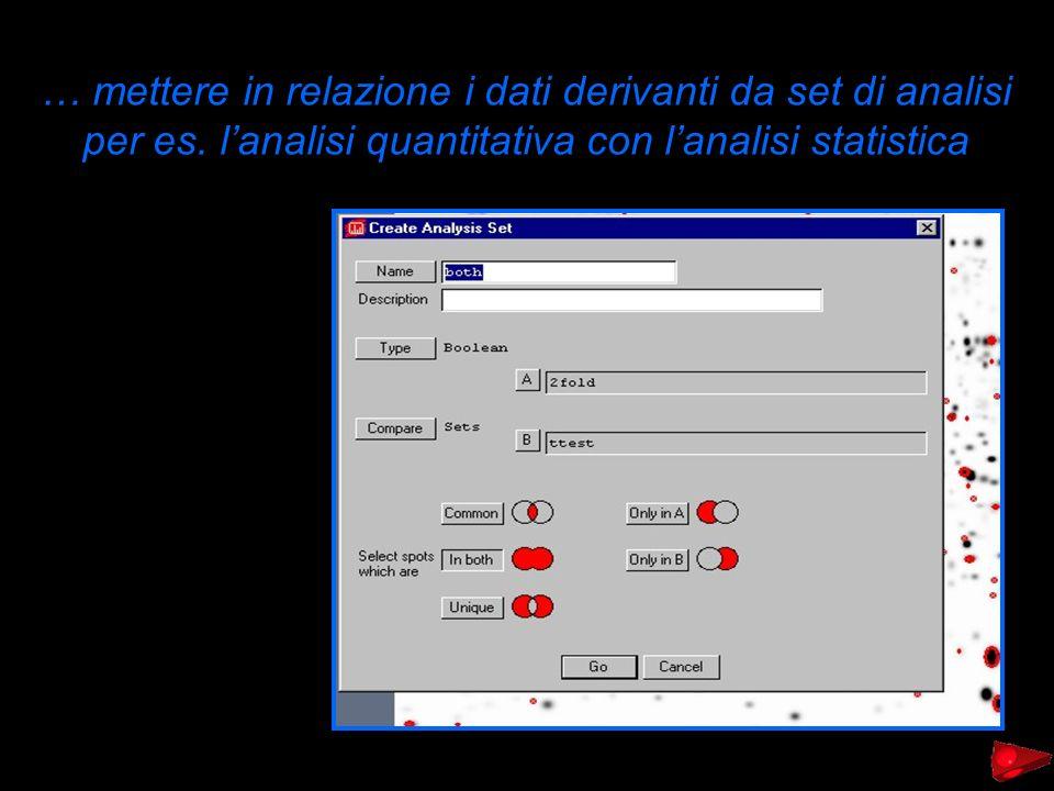 … mettere in relazione i dati derivanti da set di analisi per es