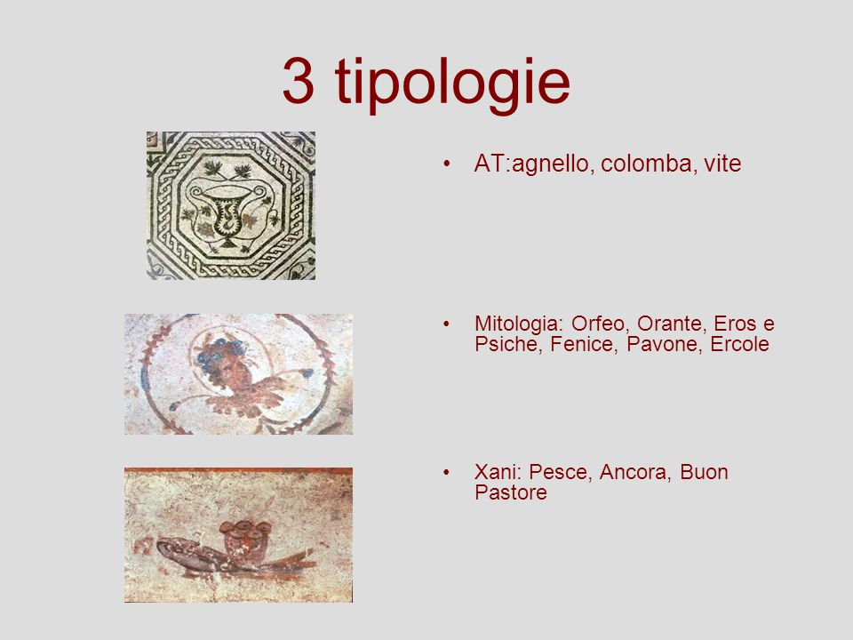 3 tipologie AT:agnello, colomba, vite