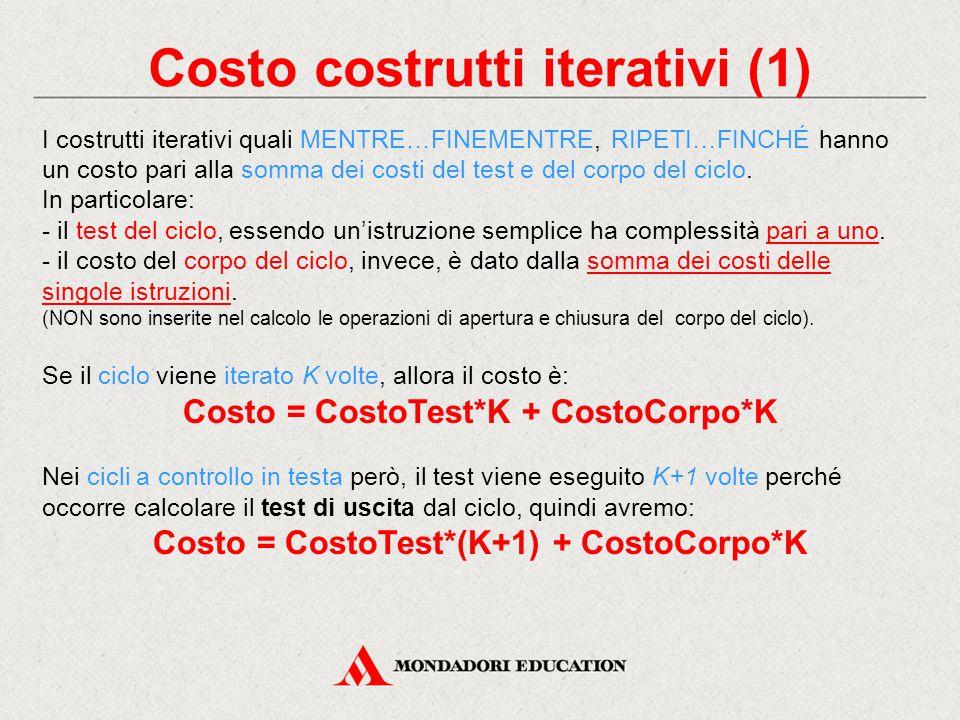 Costo costrutti iterativi (1) Costo = CostoTest*(K+1) + CostoCorpo*K