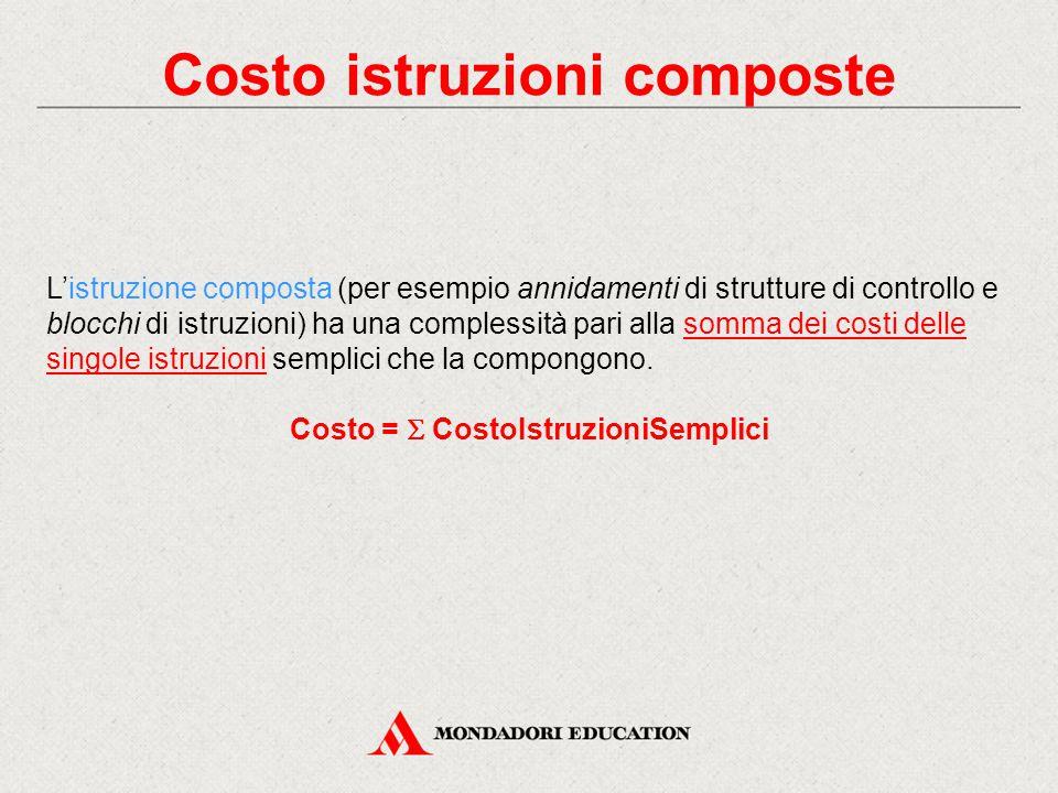 Costo istruzioni composte Costo =  CostoIstruzioniSemplici