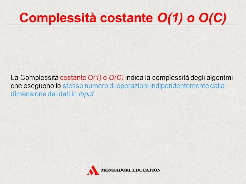 Complessità costante O(1) o O(C)