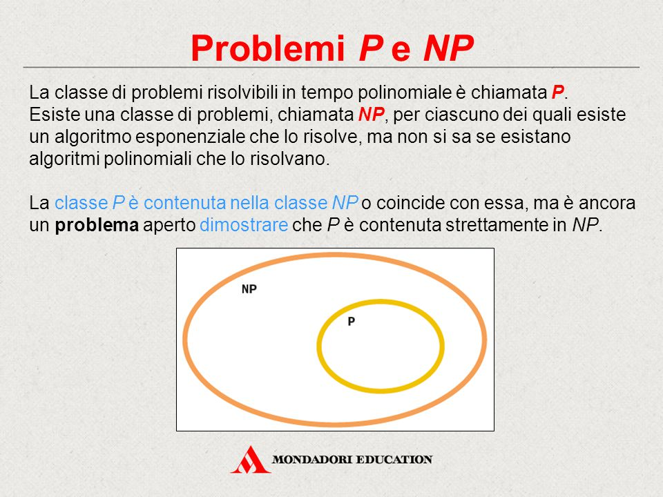Problemi P e NP La classe di problemi risolvibili in tempo polinomiale è chiamata P.