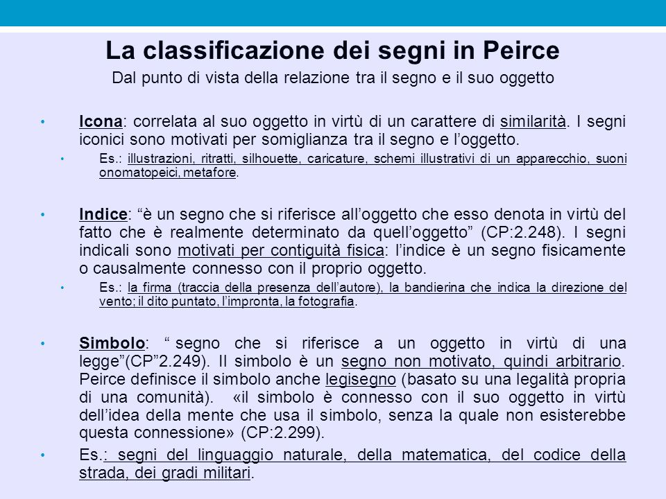 La classificazione dei segni in Peirce