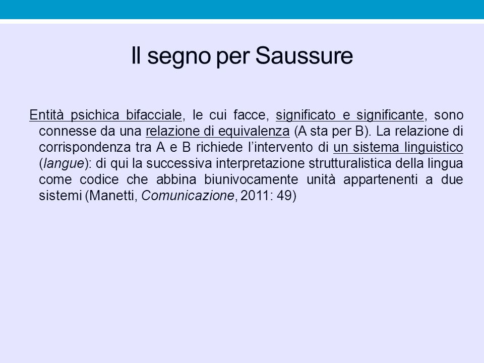 Il segno per Saussure