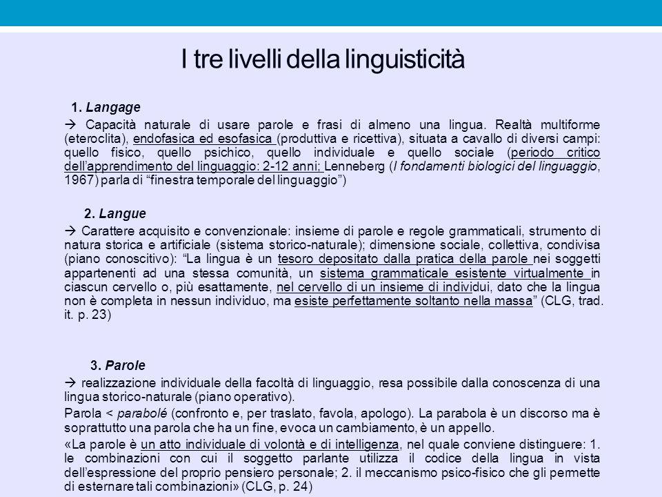 I tre livelli della linguisticità