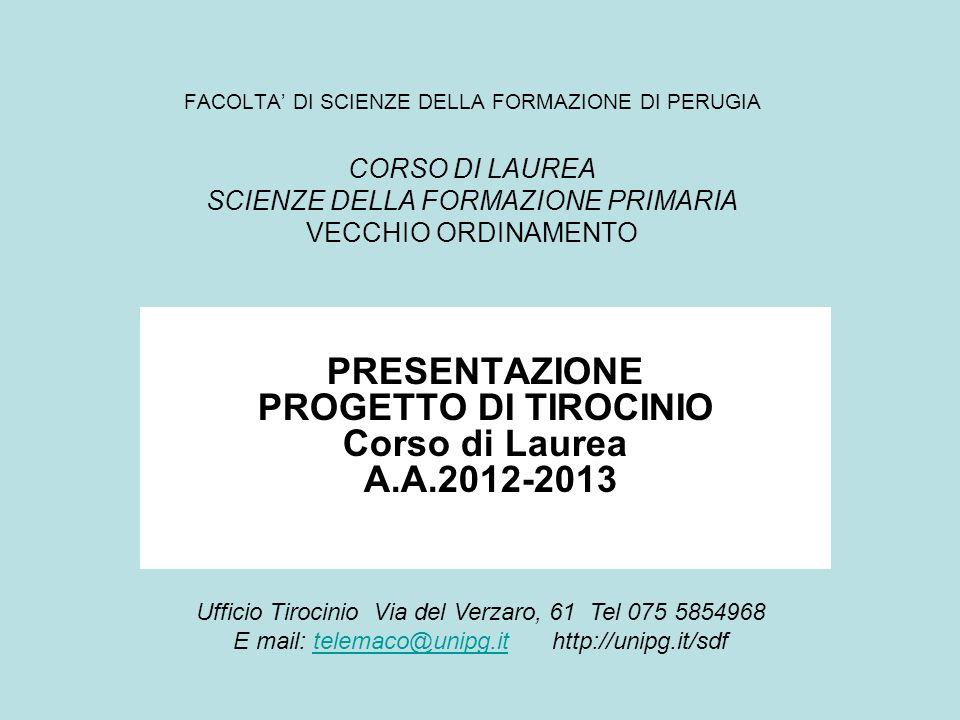 PRESENTAZIONE PROGETTO DI TIROCINIO Corso di Laurea A.A.2012-2013