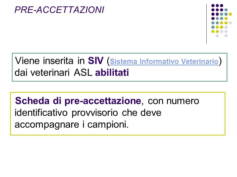 PRE-ACCETTAZIONI Viene inserita in SIV (Sistema Informativo Veterinario) dai veterinari ASL abilitati.