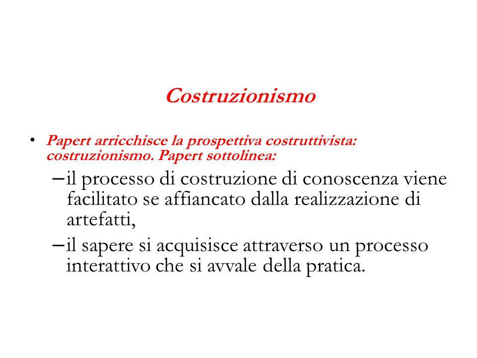 Costruzionismo Papert arricchisce la prospettiva costruttivista: costruzionismo. Papert sottolinea: