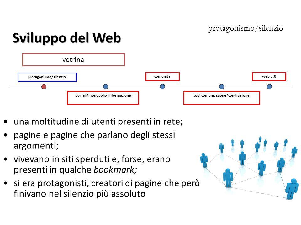 Sviluppo del Web una moltitudine di utenti presenti in rete;