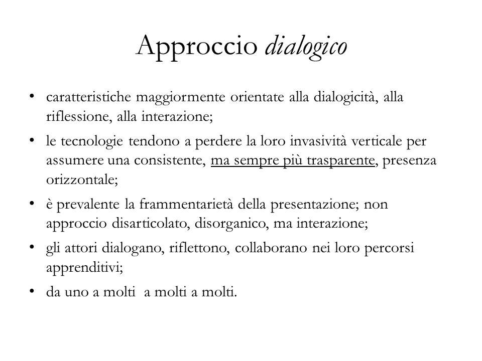 Approccio dialogico caratteristiche maggiormente orientate alla dialogicità, alla riflessione, alla interazione;