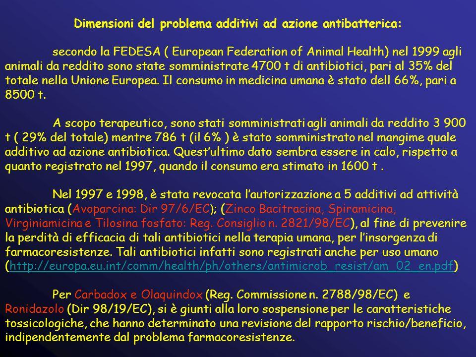 Dimensioni del problema additivi ad azione antibatterica: