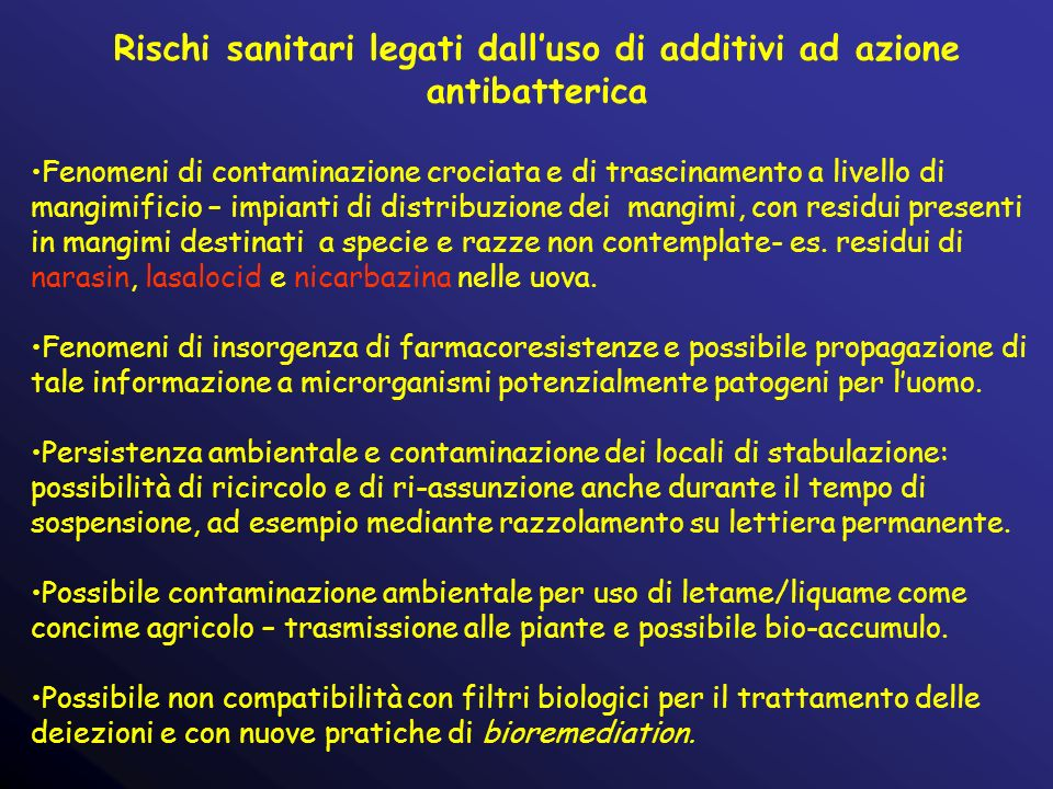 Rischi sanitari legati dall'uso di additivi ad azione antibatterica