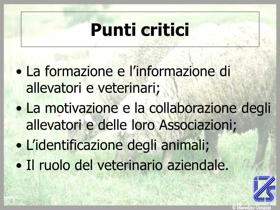Punti critici La formazione e l'informazione di allevatori e veterinari;