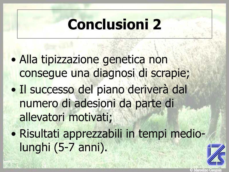 Conclusioni 2 Alla tipizzazione genetica non consegue una diagnosi di scrapie;