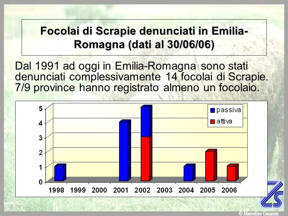 Focolai di Scrapie denunciati in Emilia-Romagna (dati al 30/06/06)